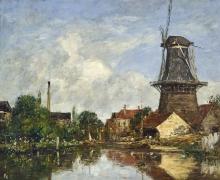 Boudin, Scena fluviale con mulino a vento a Dordrecht, Olanda | Scène de rivière avec moulin à vent à Dordrecht, Hollande | River scene with windmill at Dordrecht, Holland