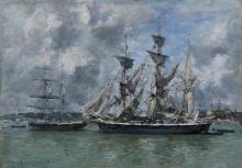 Eugène Boudin, Tre-alberi in porto | Trois-mâts au port