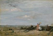 Eugène Louis Boudin, Una scena di spiaggia a Trouville | A beach scene at Trouville