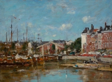 Boudin, Veduta del porto di Leuvehaven a Rotterdam | Vue du port de Leuvehaven à Rotterdam | View of the Leuvehaven harbour in Rotterdam