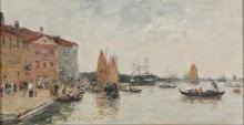 Eugène Louis Boudin, Venezia: il molo e la chiesa di San Biagio | Venise : le quai et l'église San Biagio | Venice: the quay and the church San Biagio