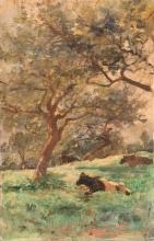 Stefano Bruzzi (attribuito a), Paesaggio con mucche