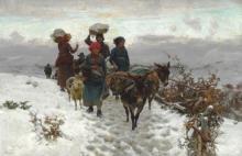 Stefano Bruzzi, Contadini che valicano un passo di montagna in inverno | Italian farmers crossing a mountain pass at winter time