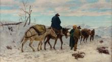 Stefano Bruzzi, Viaggiatori su una strada, inverno   Travelers on a road, winter