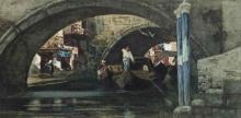 Cabianca, Gondolieri su un canale veneziano.jpg