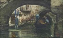 Cabianca, Un gondoliere su un canale veneziano.jpg