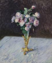 Gustave Caillebotte, Bouquet di rose in un vaso di cristallo | Bouquet de roses dans un vase de cristal