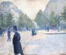 Gustave Caillebotte, La Place Saint Augustin, tempo brumoso   La Place Saint-Augustin, temps brumeux
