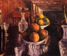 Caillebotte, Natura morta, bicchieri, caraffe e coppe di frutta.jpg