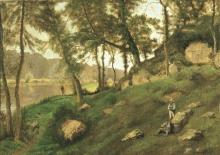 Michele Cammarano (attribuito a), Paesaggio fluviale con contadini