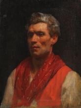 Michele Cammarano (attribuito a), Ritratto maschile con fazzoletto rosso