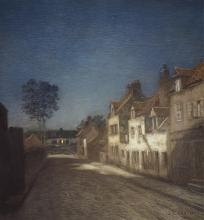 Cazin, Una strada di sera | Une rue le soir | A village street at evening