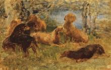 Cecconi, Muta di cani in riva al lago