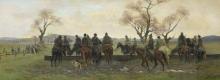 Eugenio Cecconi, Sosta dei cacciatori per far abbeverare i cavalli