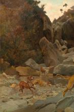 Cecconi, Volpe azzanta dai cani [dettaglio 1].png