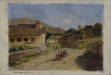 Adriano Cecioni (attribuito a), Strada di campagna con figure