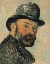 Paul Cézanne, Autoritratto con bombetta | Selvportræt med rundpuldet hat | Autoportrait au chapeau melon | Self portrait with a round hat