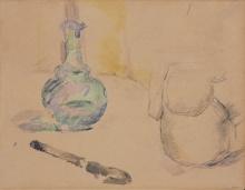 Cezanne, Caraffa e coltello [recto] | Carafe et couteau [recto] | Carafe and knife [recto]