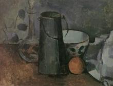Cezanne, Caraffa, bricco del latte, ciotola e arancia.jpg