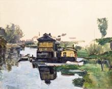 Cezanne, Case galleggianti su un fiume.jpg