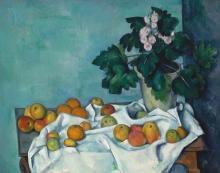 Cezanne, Natura morta con mele ed un vaso di primule.jpg