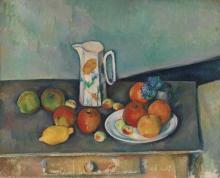 Cezanne, Natura morta, bricco del latte e frutta su una tavola.jpg