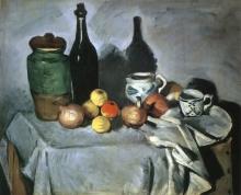 Paul Cézanne, Natura morta, vasellame e frutta | Nature morte: pots, bouteille, tasse et fruits | Stilleben (Früchte und Geschirr)