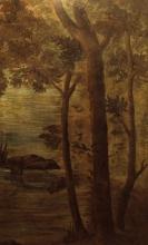 Cezanne, Paesaggio romantico con pescatori - Alberi sulla riva del fiume.jpg