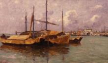 Guglielmo Ciardi, Barconi in laguna