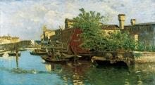 Guglielmo Ciardi, Laguna con barche e pescatori
