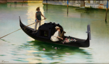 Corcos, Giovane donna in gondola sul Canal Grande.png
