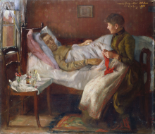Corinth, Il padre dell'artista nel letto di ammalato | Der Vater des Künstlers auf dem Krankenlager | The father of the artist on the sickbed