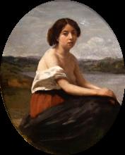 Jean-Baptiste Camille Corot, Giovane italiana seduta in vista di un lago | Ung italienerinde siddende nær en sø | Jeune Italienne assise en vue d'un lac | Young Italian woman seated near a lake