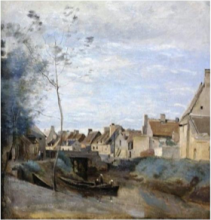 Jean-Baptiste Camille Corot, La città d'Isigny, Les Hagues, Manche | La ville d'Isigny, Les Hagues, Manche | Isigny, Nordfrankrig | The town of Isigny, Les Hagues, Manche