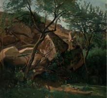 Jean-Baptiste Camille Corot, Pastorello tra le rocce | Jeune berger parmi les rochers (Forêt de Fontainebleau) | Young shepherd among the rocks (Forest of Fontainebleau)