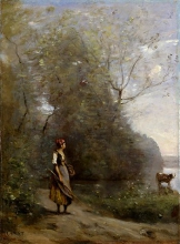 Corot, Ragazza in una foresta | Fille dans une forêt | Girl in a forest