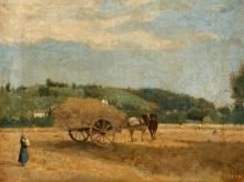 Jean-Baptiste Camille Corot, Scena di mietitura   Ernteszene   Harvest scene