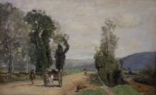 Jean-Baptiste Camille Corot, Strada, paesaggio della Côte d'Or | La route, paysage de la Côte d'Or | Landevej, Côte-d'Or | Country road, Côte-d'Or