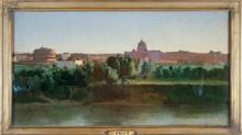 Corot, Veduta del Castel Sant'Angelo | Vue du Castel Sant'Angelo | View of the Castel Sant'Angelo | Vista del Castel Sant'Angelo