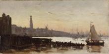 Corot, Veduta di Amsterdam dal porto dell'IJ con la Zuiderkerkstoren | Vue d'Amsterdam, du port de l'IJ avec la Zuiderkerkstoren