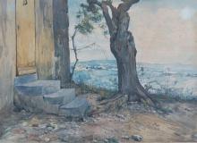 Giovanni (Nino) Costa, Scorcio con rustico e paesaggio