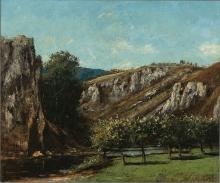 Courbet, Paesaggio montano con alberi da frutto a Ornans | Paysage de montagne avec arbres fruitiers à Ornans