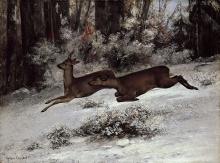 Courbet, Sentiero selvaggio, scena di caccia con cervi, Franca Contea | Sentier sauvage, scène de chasse avec des cerfs, Franche-Comté | Wild trail, hunting scene with deer, Franche-Comté