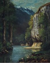 Courbet, Un fiume in una gola di montagna   Une rivière dans une gorge de montagne   A river in a mountain gorge