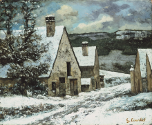 Courbet, Uscita di villaggio in inverno | Dorfausgang im Winter | Sortie de village en hiver | Village exit in winter