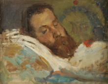 Tranquillo Cremona (attribuito a), Emilio Praga sul suo letto di morte