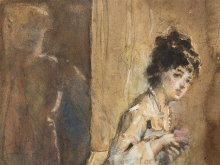 Tranquillo Cremona, Ritratto di Maria Morozzi (Studio) [dettaglio]