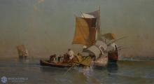 Edoardo Dalbono, Marina con barche e pescatori