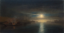 Charles-François Daubigny, Chiaro di luna sull'acqua | Clair de lune sur l'eau | Moonlight on water