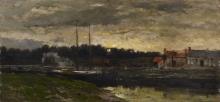 Daubigny, Tramonto su un fiume | Coucher de soleil sur une rivière | Sunset on a river